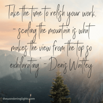 _Winners take time to relish their work, knowing that scaling the mountain is what makes the view from the top so exhilarating._ - Denis Waitley