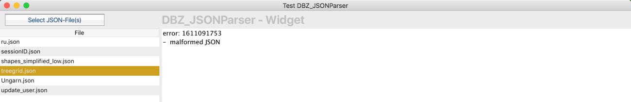 JSON-Fehler wird im Widget angezeigt