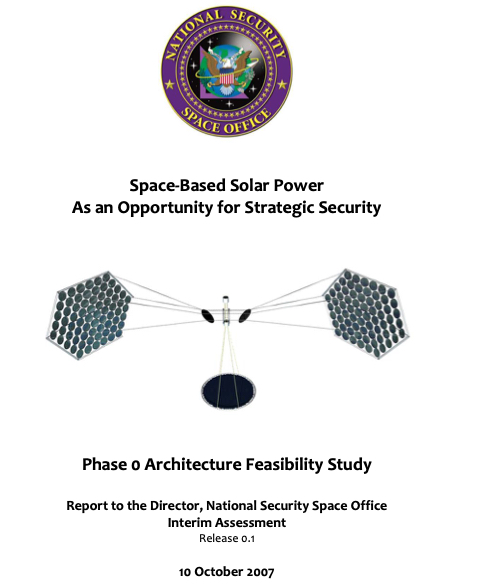 Space-Based Solor Power as an Opportunity for Strategic Security 10 October 2007