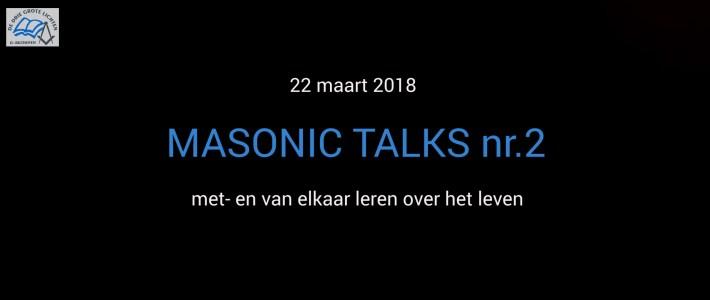 """Uitnodiging voor thema avond """"Masonic Talks"""" op 22 maart 2018"""