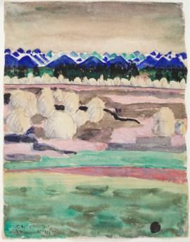Paesaggio con montagne azzurre, 1910, mina, acquerello e gouache su carta vergata, firmato e datato ''Ch. E. Jt./A Munich 1910'', coll. Éric Mouchet, Parigi, fotografia © Éric Mouchet
