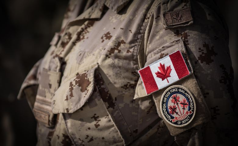 Canadian soldier with air task force patch