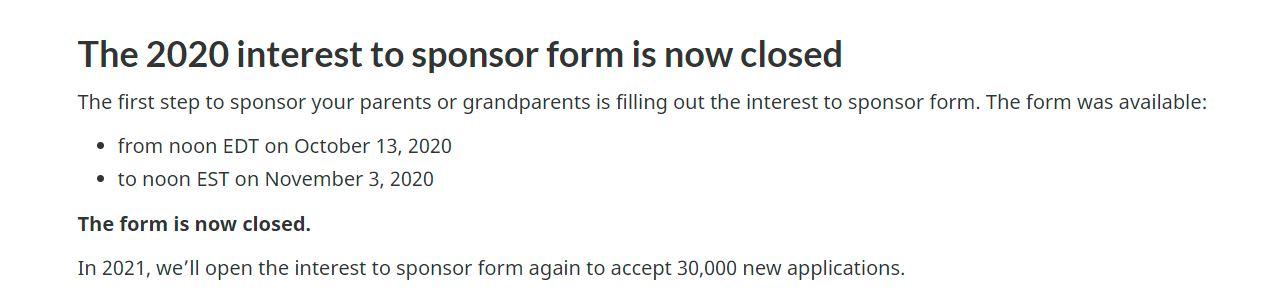 2020 interest to sponsor form closure message