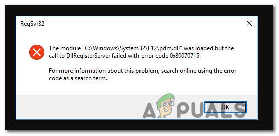 Исправлено: сбой DLLRegisterserver с ошибкой 0x80070715 в Windows 10