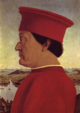 <p>Piero della Francesca: portret van de hertog Federico da Montefeltro (Uffizi, Firenze)</p>