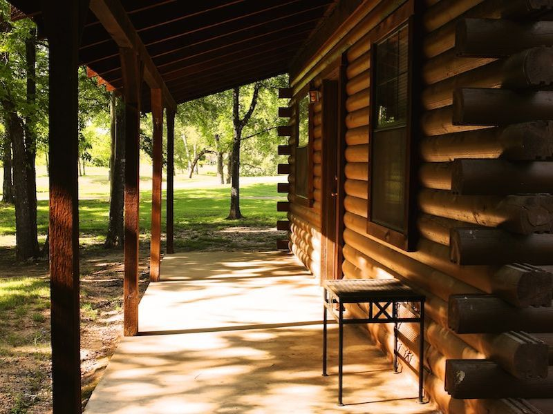 Photo of the porch of a rustic cabin