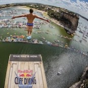Photo of a Red Bull cliff diver at possum kingdom
