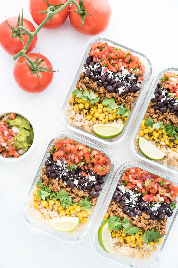 learn how to meal prep and use meal prep recipes Four Meal Prep Burrito Bowls