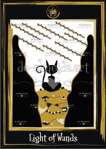 Black cat tarot - Eight of Wands