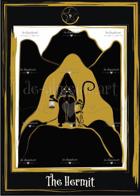 Black cat tarot - The Hermit