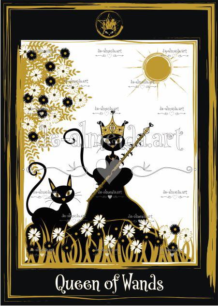 Black cat tarot - Queen of Wands