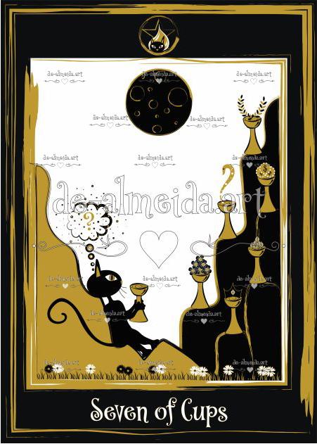 Black cat tarot - Seven of Cups