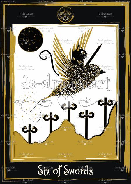 Black cat tarot - Six of Swords