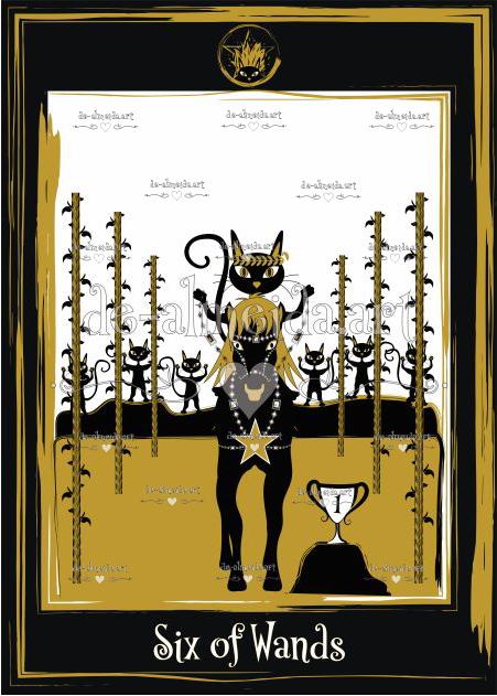 Black cat tarot - Six of Wands