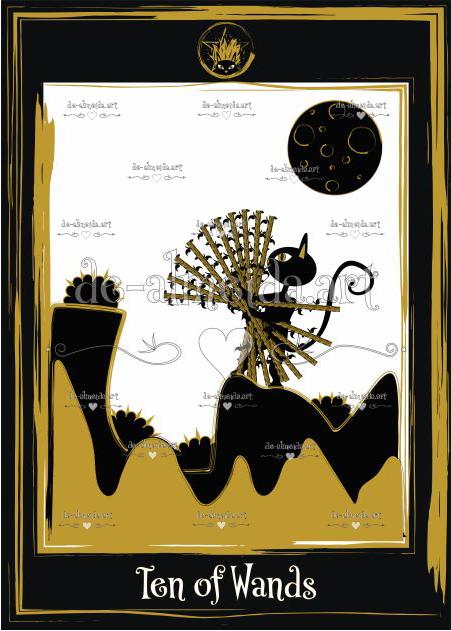Black cat tarot - Ten of Wands