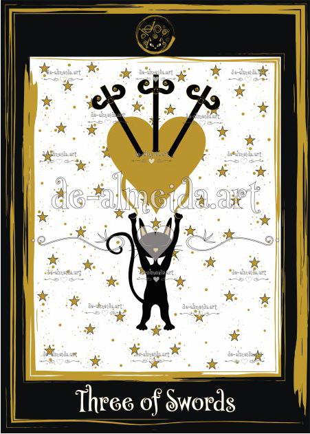 Black cat tarot - Three of Swords