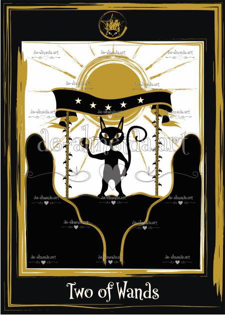 Black cat tarot - Two of Wands
