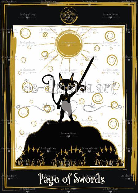 Black cat tarot - Page of Swords