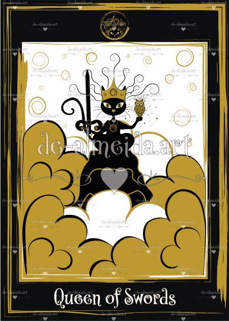 Black cat tarot - Queen of Swords