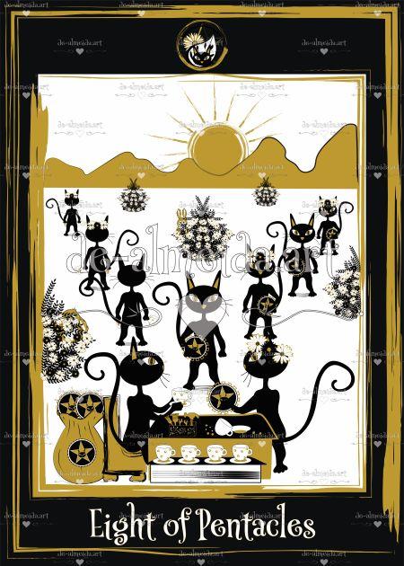 Black cat tarot - Eight of Pentacles