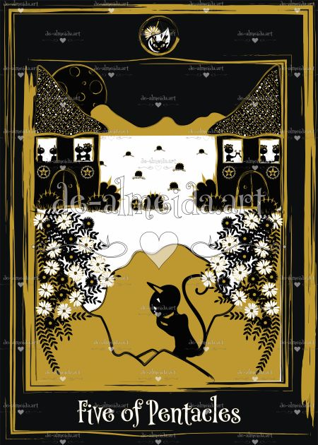 Black cat tarot - Five of Pentacles