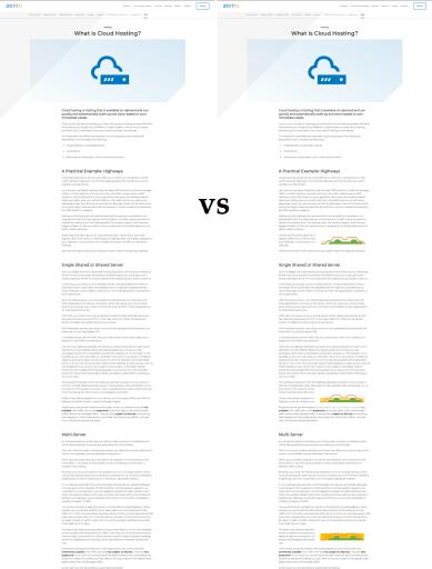 Comparaison entre deux articles, un avec l'autre sans mini graphiques.