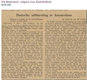 Duitse uitbarsting te Amsterdam bron Vrij Nederland ZH 9-5-1945