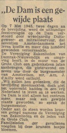 de Waarheid 08-05-1947 plaquette