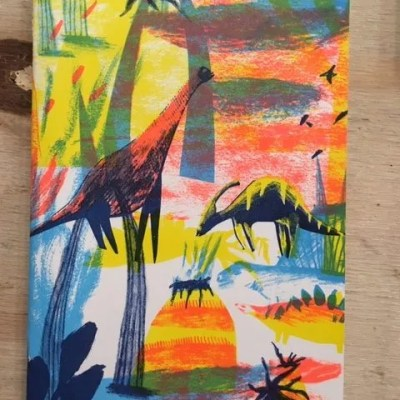 riso print notebook dinosaurs