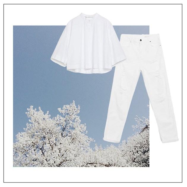 Spring-cravings-all-white-everything-white-flowering-trees-zara-white-poplin-shirt-white-distressed-denim