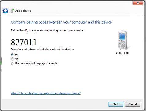 Bluetooth Tethering-jendela konfirmasi passkey pada laptop