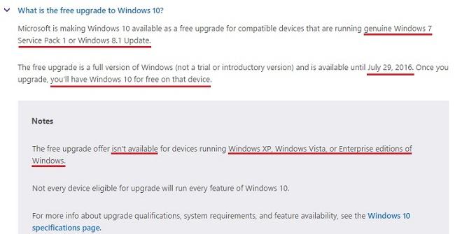 Screecshot situs resmi Microsoft windows 10