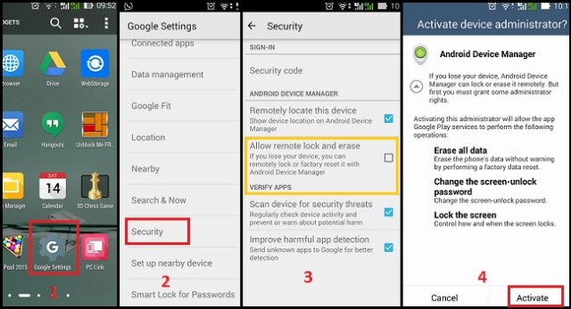 Aktifkan Android Device Manager