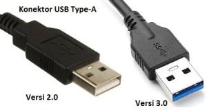 Konektor USB Type-A versi 2.0 dan versi 3.0