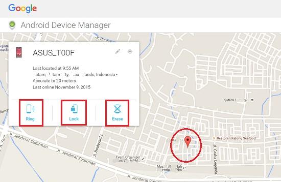 Melacak posisi perangkat Android dengan Android Device Manager