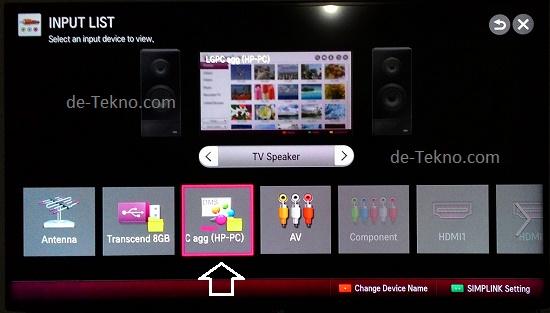 Memilih input dari laptop pada SmartTV