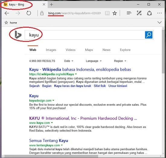 Daftar hasil pencarian search engine Edge