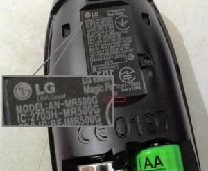Nomor seri Model LG Magic remote control