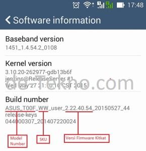 Asus Lollipop upgrade - cek versi firmware Kitkat