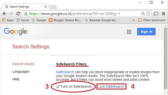 Mengaktifkan dan mengunci Safesearch Google