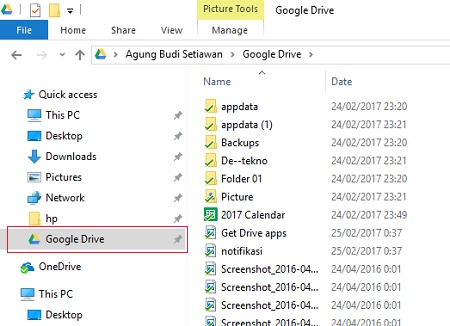 Google drive dalam Windows explorer