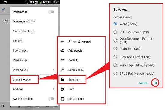 Google Drive-mobile-convert docs file