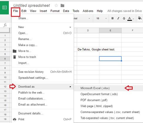 Convert Google Sheets ke Microsoft Excel