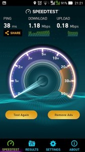 Test internet speed di android menggunakan aplikasi speedtest