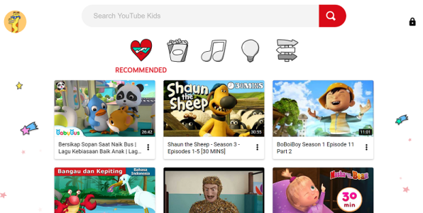 Tampilan halaman depan Youtube Kids di Windows