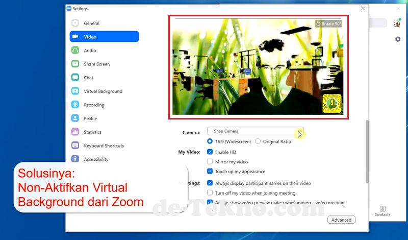 Konflik antara Snap Camera dengan Virtual background Zoom.