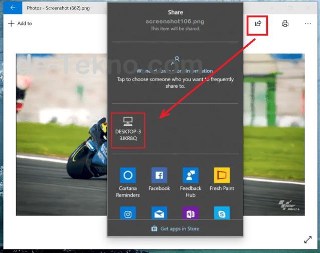 mengirim file foto ke sesama Windows