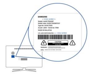 Stiker model number Smat TV Samsung