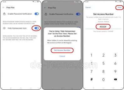 Set Nomor Akses-sembunyikan aplikasi Realme