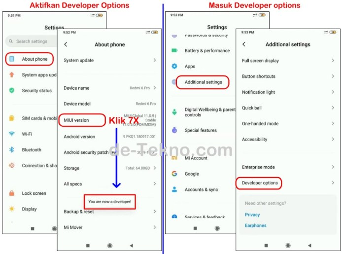 aktifkan developer options Xiaomi